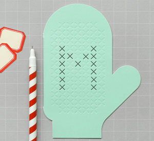 Cross Stitch Mitten Card