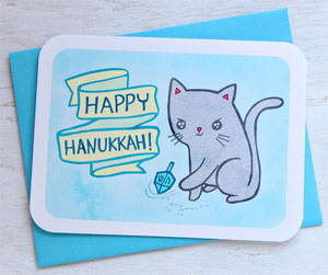 Dreidel Cat Card