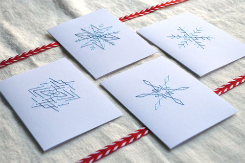 Embroidered Snowflake Cards