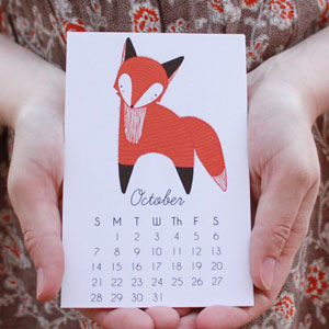 Illustrated Little Foxes Calendar by Gingiber