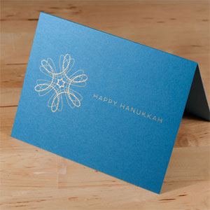 Gold + Blue Hanukkah Card