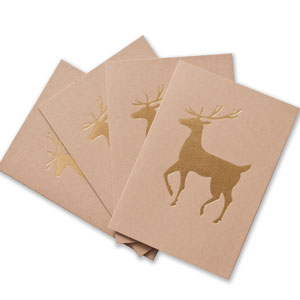Gold Foil Reindeer Cards
