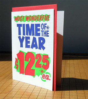 Grocery Store Holiday Sign Letterpress Card