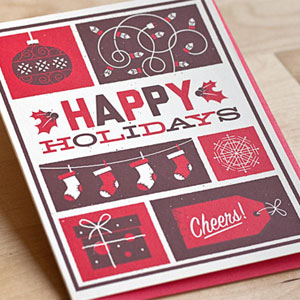 Happy Holidays Screenprinted Card