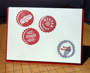 Hoppy Holidays Bottlecaps Letterpress Card