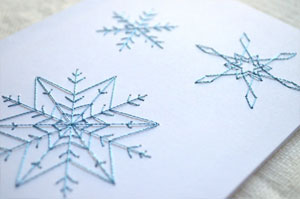 Snowflakes Embroidered Card