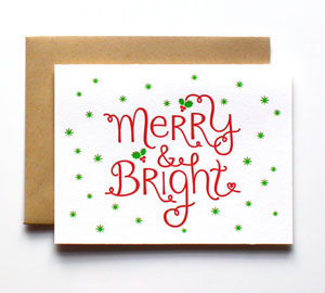 Merry &amp; Bright Letterpress Card