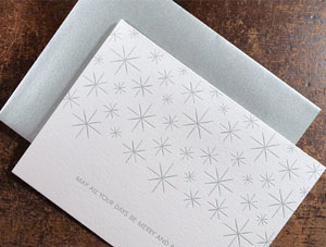Merry &amp; Bright Stars Letterpress Card