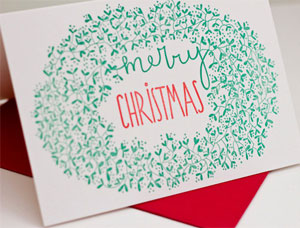 Mistletoe Merry Christmas Letterpress Card
