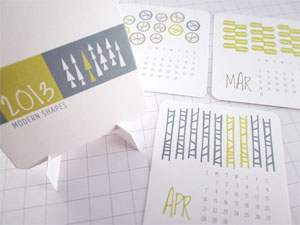 Modern Shapes Calendar by Monkey Mind Design