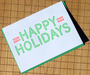 Neon Holiday Sign Letterpress Card