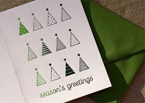 Ombre Trees Letterpress Card