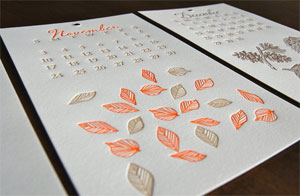 Paisley Tree Press 2013 Letterpress Calendar