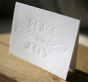 Peace Love Joy Letterpress Card
