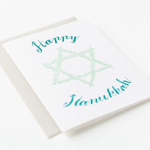 Happy Hanukkah (Botanic) Letterpress Card