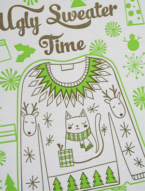 Ugly Sweater Time Letterpress Card