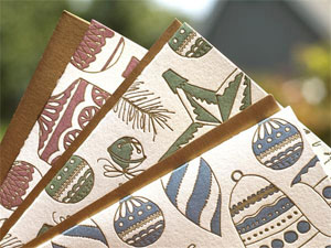 Vintage Ornaments Letterpress Cards by Wild Ink Press