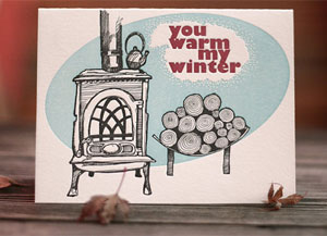 You Warm My Winter Letterpress Card by Darling Press