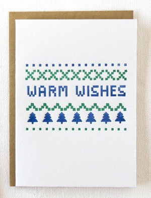 Warm Wishes Sweater Letterpress Card