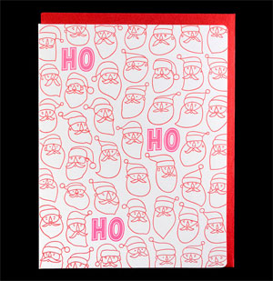 Way Many Santas Letterpress Card