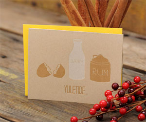 Eggnog Yuletide Letterpress Card