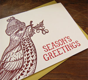 Bird &amp; Holly Letterpress Card