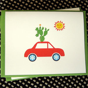 Cactus Car Holiday Card
