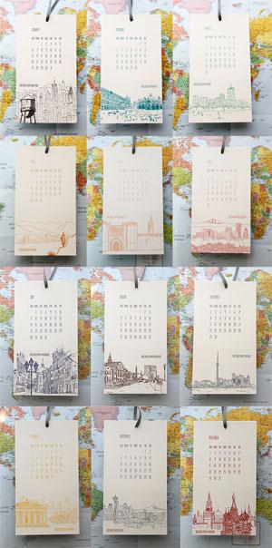 Cityscape Letterpress Postcard Calendar