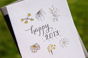 Happy 2013 Letterpress Card