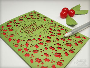 Happy Holidays & Holly Card