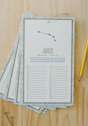 Letterpress Zodiac Birthday Calendar