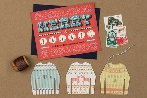 Free Printable Holiday Card &amp; Ugly Sweater Tags