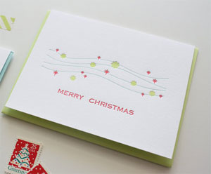 Merry Christmas Snow Letterpress Card