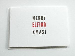 Merry Elfing Christmas Letterpress Card