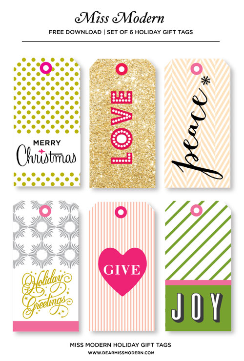 Printable Holiday Tags by Miss Modern