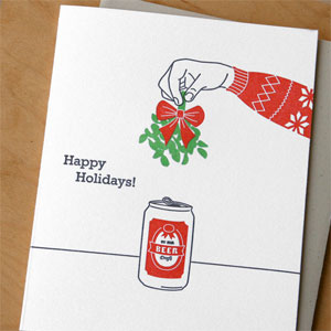 Mistletoe and Beer Letterpress Holiday Card
