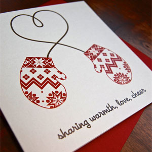 Winter Heart Mittens Letterpress Card