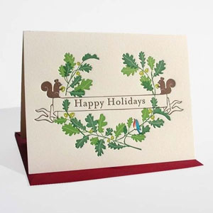 Oak Wreath Letterpress Card