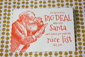 Santa's Nice List Letterpress Holiday Card