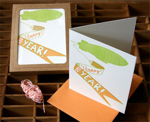 Zeppelin New Year Letterpress Card