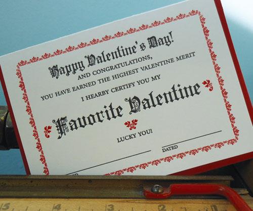Favorite Valentine Certificate Letterpress Card