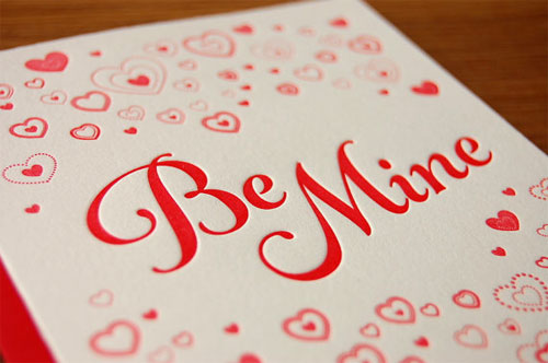 Be Mine Letterpress Card