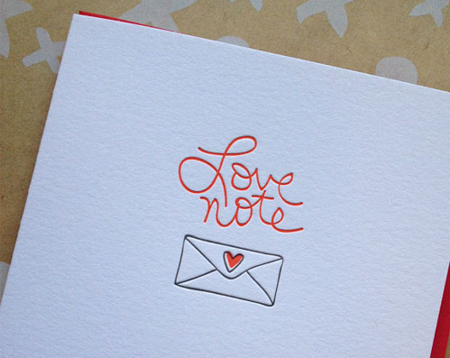 Love Note Letterpress Card by Deluce Design