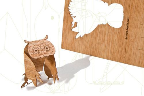 Wood Veneer Owl Postcard by Formes Berlin