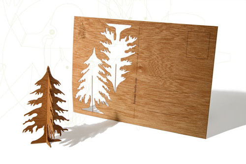 Wood Veneer Tree Postcard by Formes Berlin