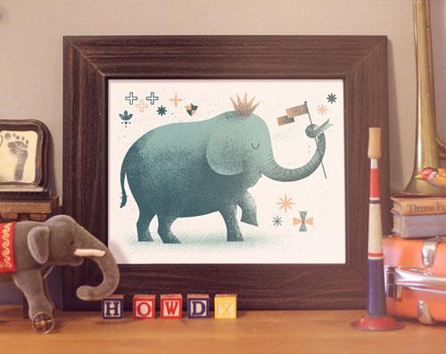 Howdy, Mates! Elephant Screenprint