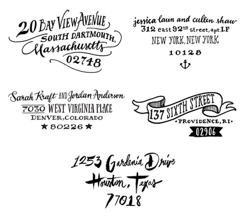 Ladyfingers Letterpress Hand Lettered Custom Return Address Stamps