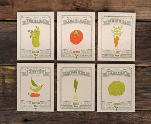 Garden Seeds Letterpress Cards by Ruff House Art