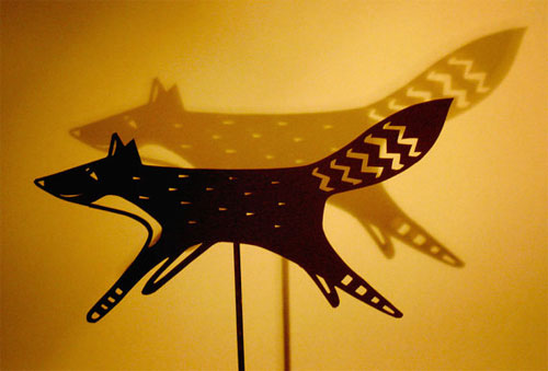 Papercut Fox Shadow Puppet by Su Owen