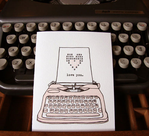 Typewriter Valentine Card
